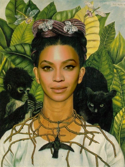 beyonce-as-Self-Portrait-with-Necklace-of-Thorns-frida-kahlo